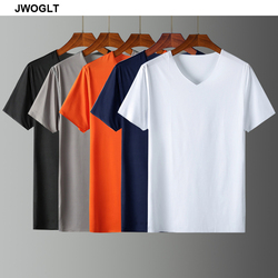 2020 Summer New Ice Silk Cool Soft Mens T Shirts Casual Short Sleeved V-Neck Slim Fit Black White Navy Tops Tees 4XL