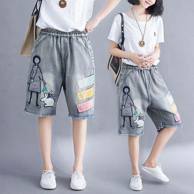 5176 Women Summer Streetwear Elastic High Waist Cartoon Embroidery Cute Korean Style Lady Female Oversized Loose Denim Shorts 1
