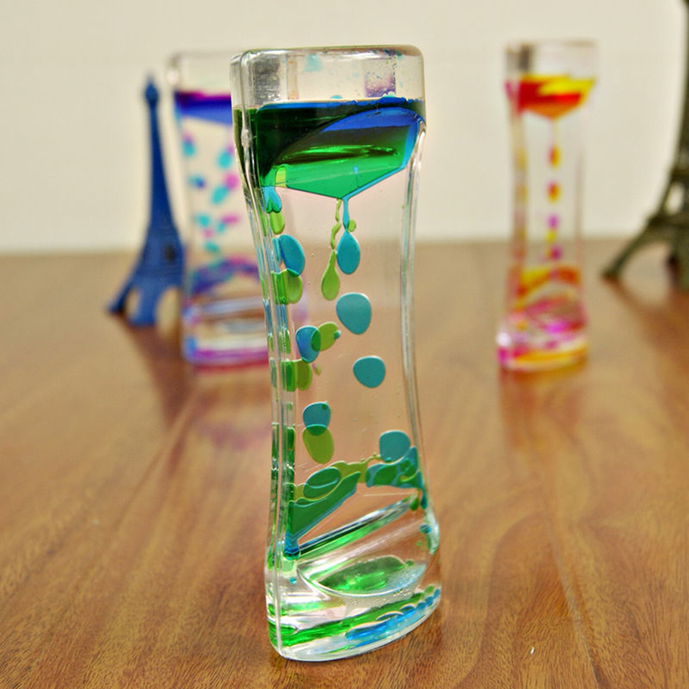 Double Color Floating Liquid Oil Acrylic Hourglass Statues Sculptures Motion Bubbles Visual Hourglass Timer Home Decors(China)