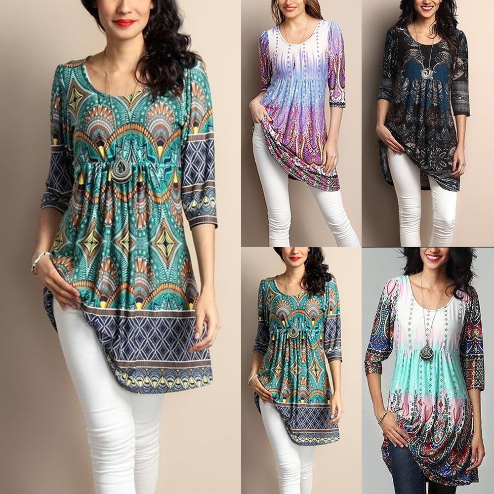 2020 Muslim Women Boho Flower Print Bangladesh Turkish Tops Dubai Print Shirt Casual Loose Islamic Clothes Plus Size 4xl 5xl