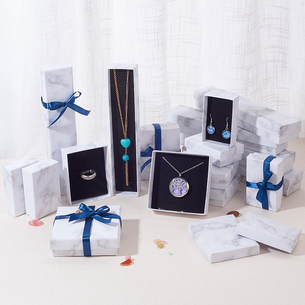 Marble Jewelry Box Necklace Bracelet Rings Carton Packaging Display Box Gifts Jewelry Storage Organizer Holder Rectangle/Square