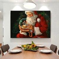 Weihnachten Santa Claus Elch und Schnee Bild Leinwand Malerei Poster und Drucke Moderne Wand Kunst Bild in Wohnzimmer Dekor Hause