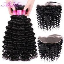 Mèches Deep Wave brésiliennes avec Closure-Abijale, cheveux Remy naturels, avec Frontal