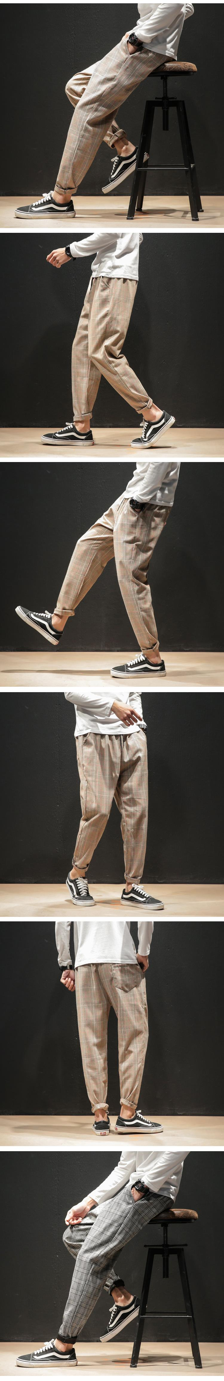 H34bd191f26874400a91de4d78a0b8e58V Dropshipping Japanese Streerwear Men Plaid Pants 2019 Autumn Fashion Slim Man Casual Trousers Korean Male Harem Pants