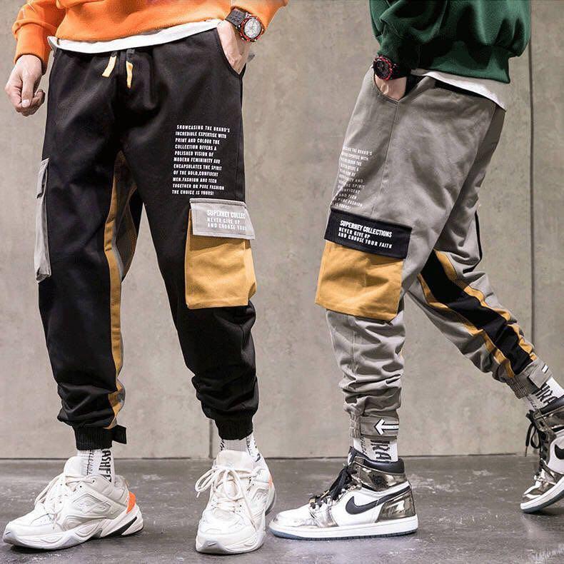 Осень 2020 Уличная Хлопок шаровары Джоггеры мужские повседневные тренировочные брюки осень новые ленты длинные брюки мужские Узкие брюки      АлиЭкспресс
