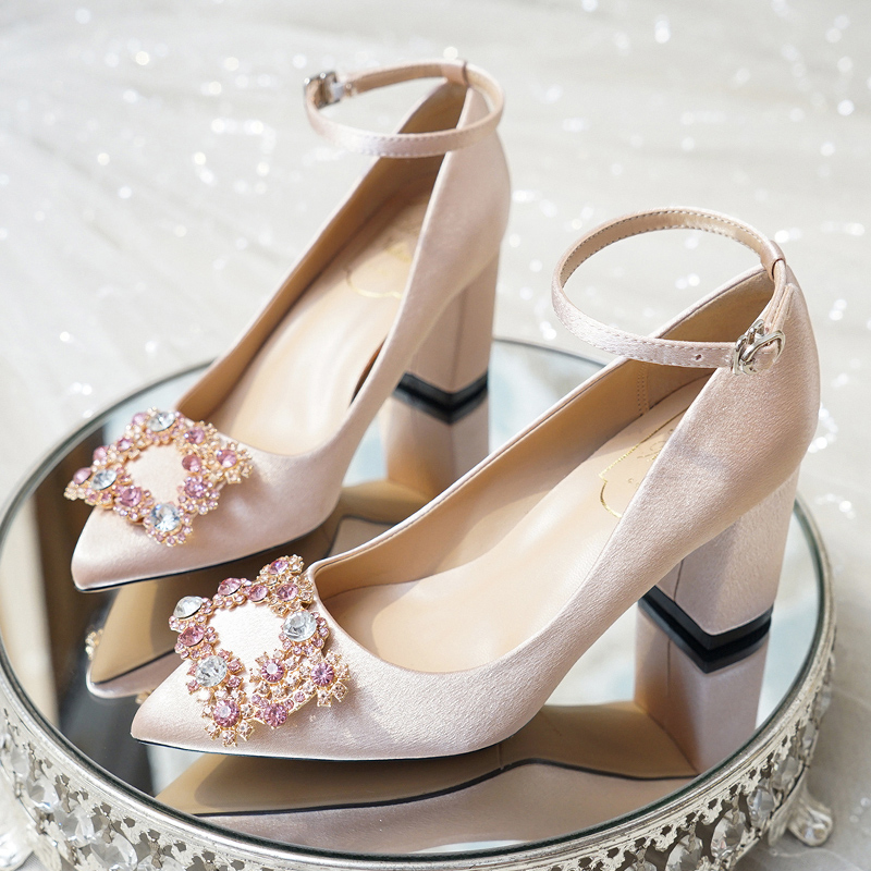 Wedding Shoes Women S Thick Heels Bride S Shoes Buckle Straps