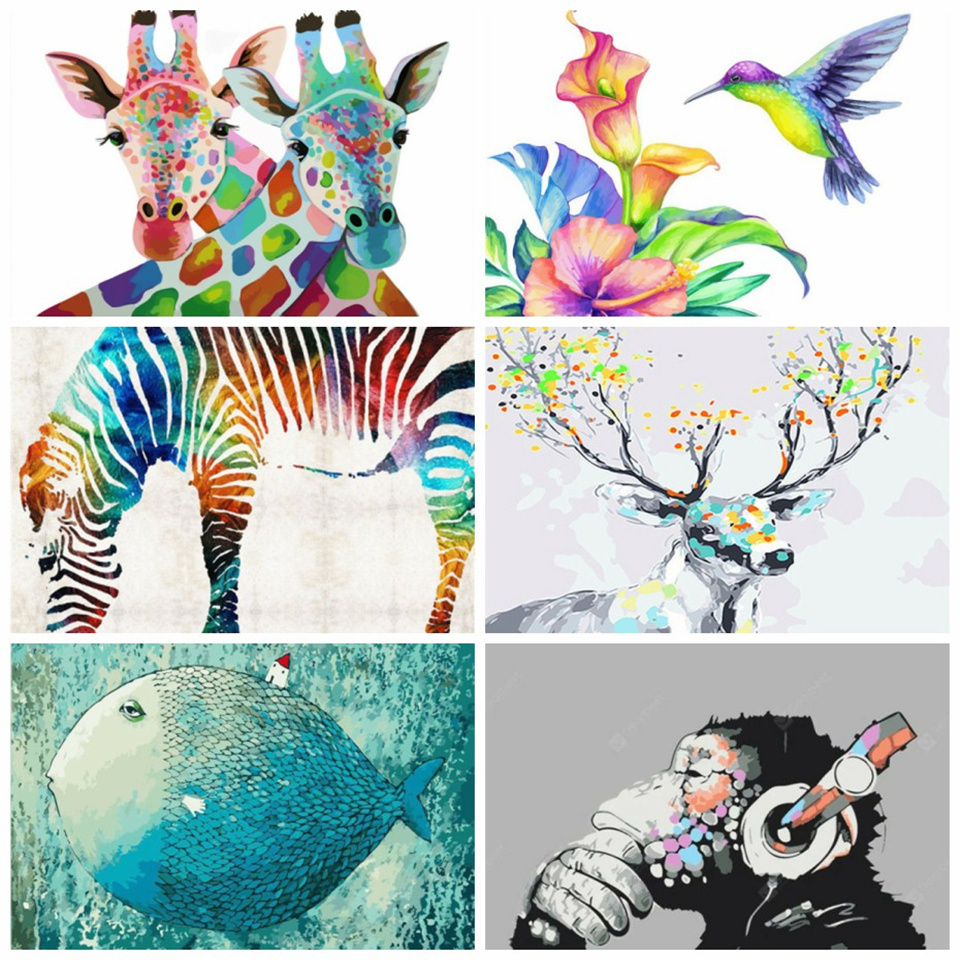 AZQSD DIY Animals Oil Painting By Numbers For Adults Full Kits Paints By Number Canvas Painting Wall Art 50x40cm