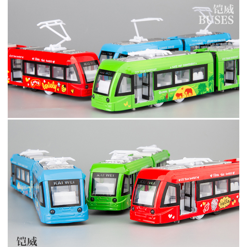 1:50 High Simulation Double-section City Tram Alloy Car Model Children's Sound And Light Pull Back Toy For Children Gifts