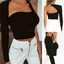 Summer Women Casual One Shoulder Top Blouse Long Sleeve Crop Tops Shirt Slim