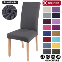 Chair-Cover Stretch Spandex Dining-Room Kitchen Solid-Color Elastic Banquet for Hotel
