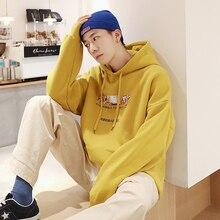 цена Winter New Plus Velvet Hoodies Men Fashion Printing Solid Color Casual Hoodie Pullover Man Streetwear Hip Hop Loose Sweatshirt