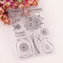 Vase Flowers New Stamps Seal for DIY Scrapbooking Card Clear Rubber Stamps Making Album Photo Crafts Handmade Decor New Stamps new scrapbook diy photo album cards butterfly style transparent acrylic silicone rubber clear stamps sheet handmade craft decor