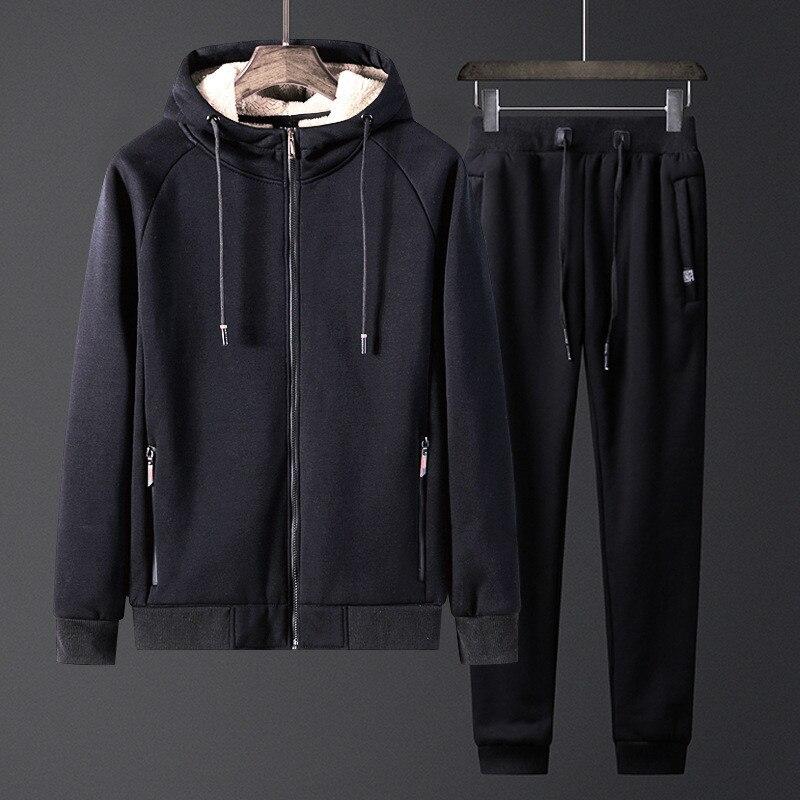 Men's Sets Winter Lambcashmere Men's Coat Plus Velvet Thickening Warm Sportswear Casual Fashion Men's Sports Suit Chandal Hombre