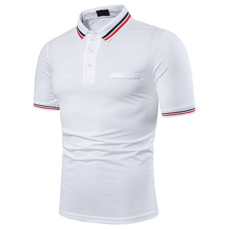 NEGIZBER Off White Polo Men Brand Casual Solid Short Sleeve Tops Fashion Slim Fit Turn-down Collar Polo Shirt Men