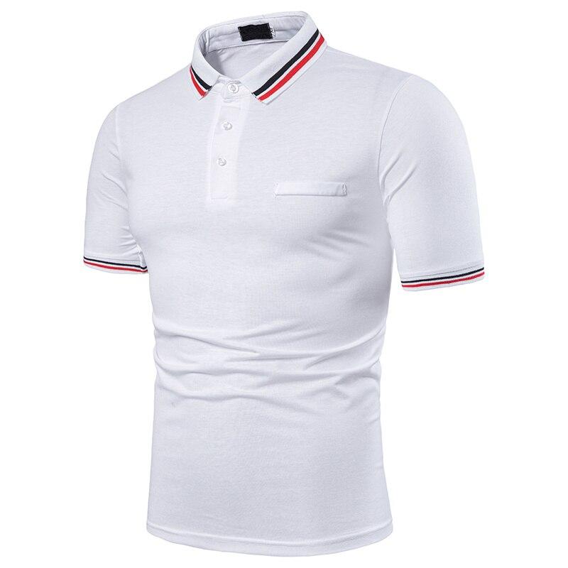 NEGIZBER Off White Polo Men Brand Casual Solid Short Sleeve Tops Fashion Slim Fit Turn-down Collar Polo Shirt Men