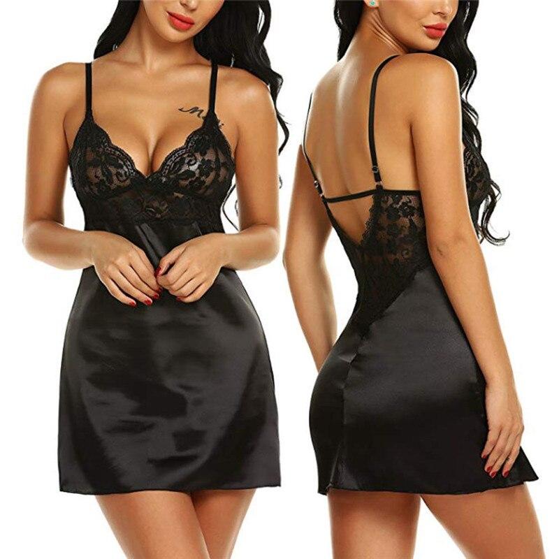 Women Summer Sexy Lingerie Satin Silk Lace Patchwork Robe  Babydoll Nightdress Nightgown Sleepwear Dress 3FS