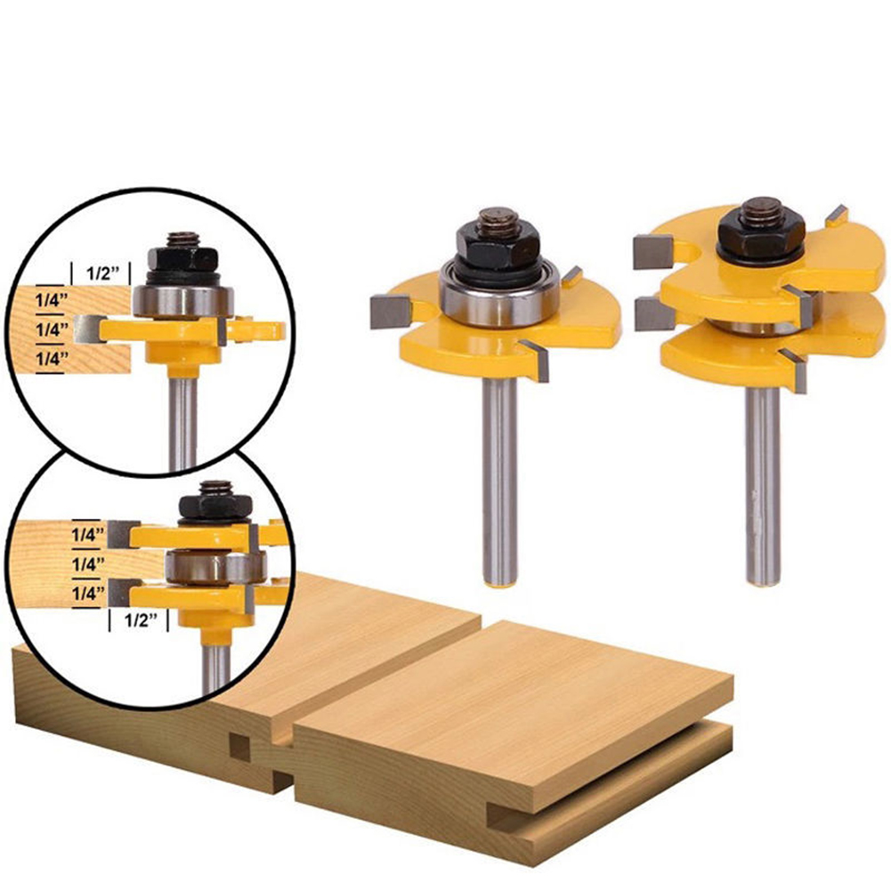 2pcs 1/4 Inch Shank Router Bit T Shape Tongue And Groove Set 3 Teeth Adjustable Wood Milling Cutter For Wood Corner Polishing