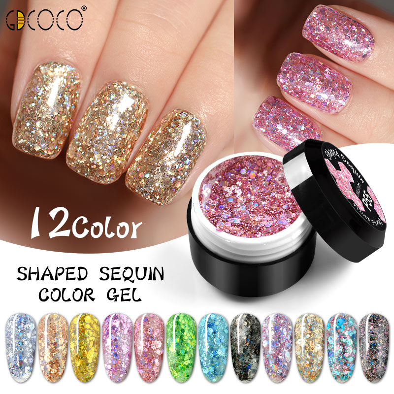 Glitter Bright Painting Gel Multi Shape Sequin Semi Permanent Soak Off UV LED Nail Gel Varnish Luxury Starry Color Gel Lacquer