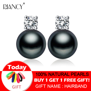 New Fashion 925 sterling silver Natural freshwater Pearl Earrings Fine Jewelry Gifts for Women White/Pink/Purple/Black/gray(China)