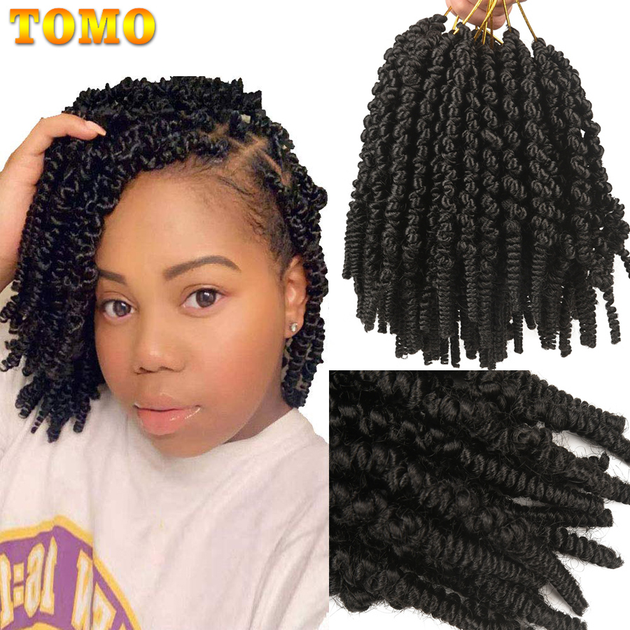 TOMO Pre Stretched Passion Bomb Twist Crochet Hair 8 Inch Ombre Spring Twist 65g/Pack Synthetic Braiding Hair Extensions image
