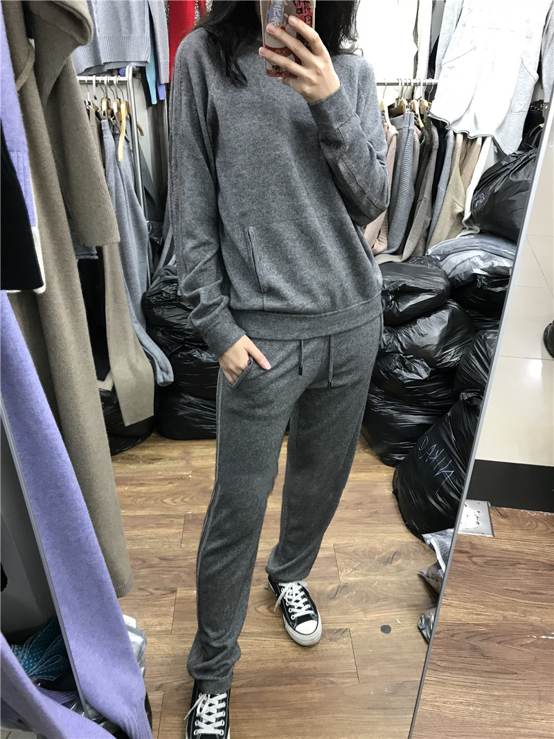 2019 Time-limited Sale Wool Full Women Two Piece Outfits Knitted Cashmere Suit Fashion Knit Pullover Casual Trousers Two-piece