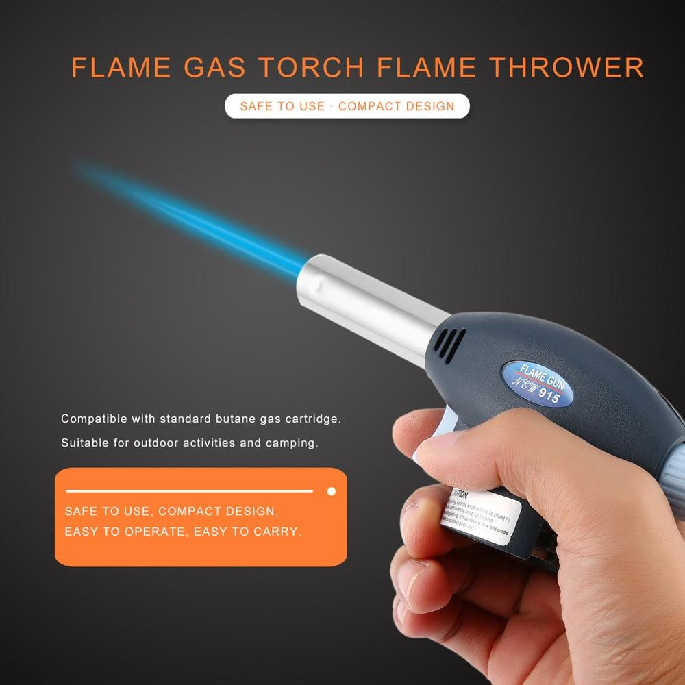 Flame Gas Torch Flame Thrower Automatic Piezoelectricity Ignite Outdoor Camping BBQ Soldering Welding Refillable Cook Tool