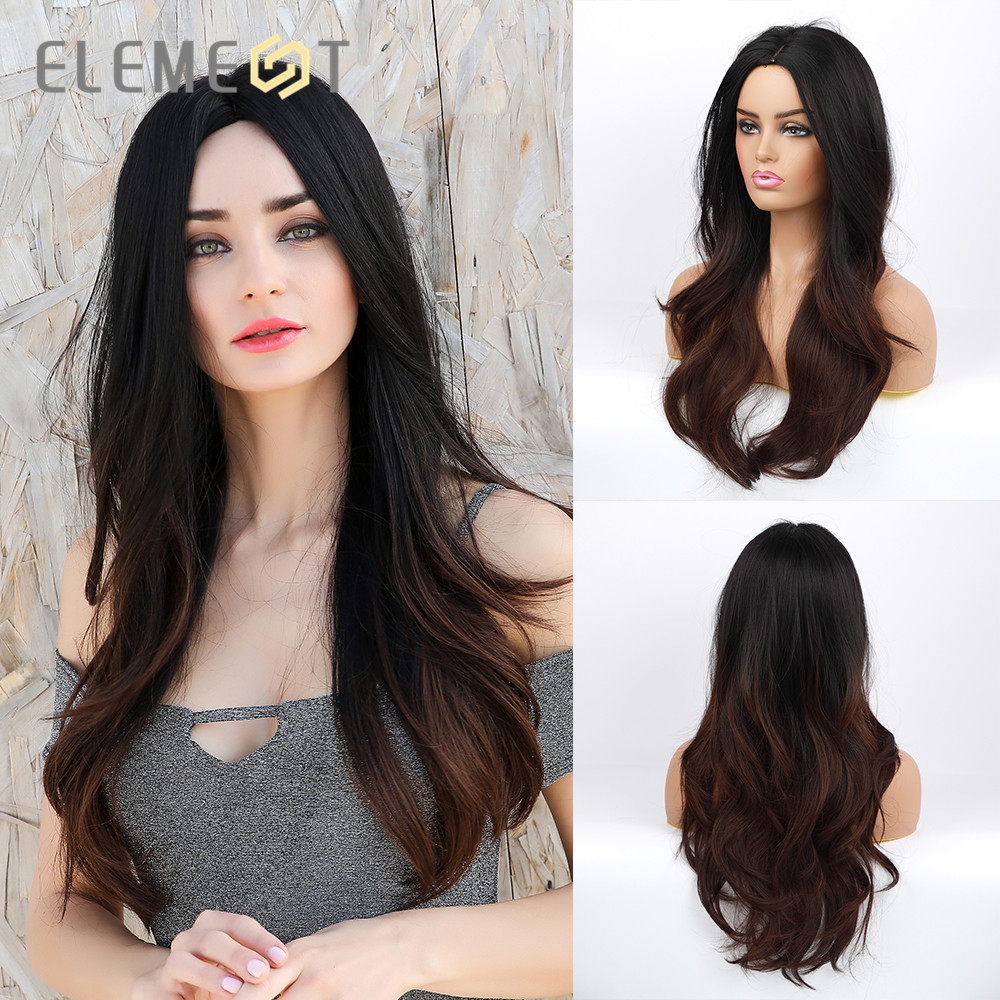 Element Synthetic Long Natural Wave Wigs For White/Black Women  Ombre Black To Brown Daily Or Cosplay Party Wig