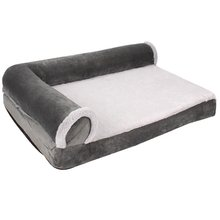 Plush orthopedic l shaped recliner dog bed pet supplies cushion