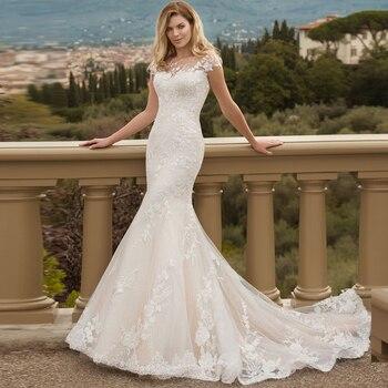 Vestido de novia de encaje hecho a medida, sirena