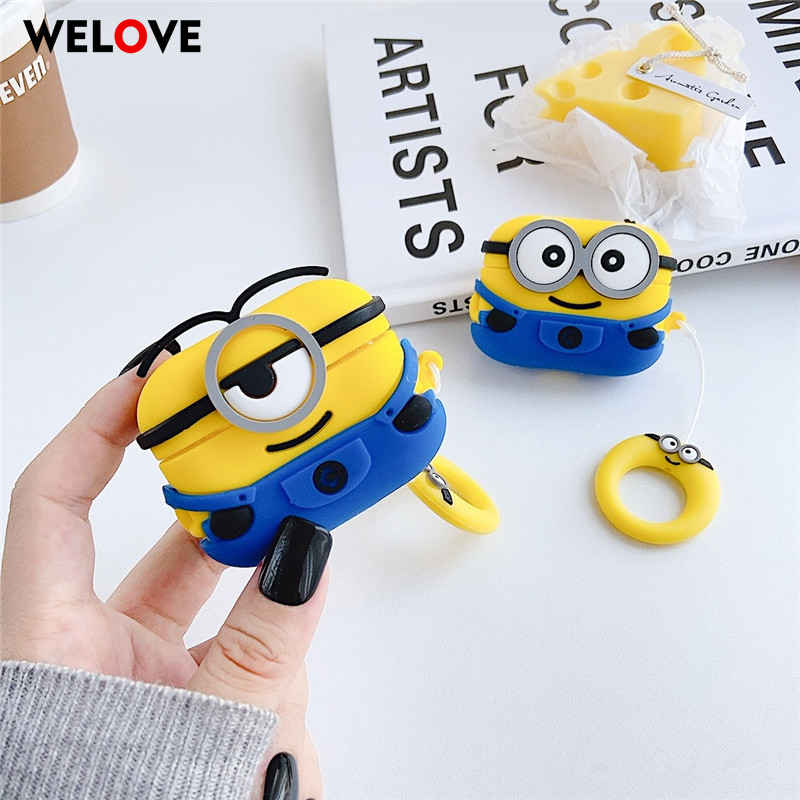Cartoon Minions Silicone Bluetooth Earphone For AirPods 1 2 Case For Apple AirPods Pro Cover Earpods Protective Cute Coque Capa