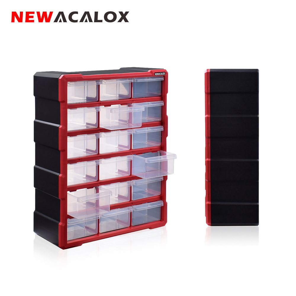 NEWACALOX Wall-Mounted Toolbox Drawer Plastic Parts Storage Hardware Box Craft Cabinet Screw Containers Component Storage Case