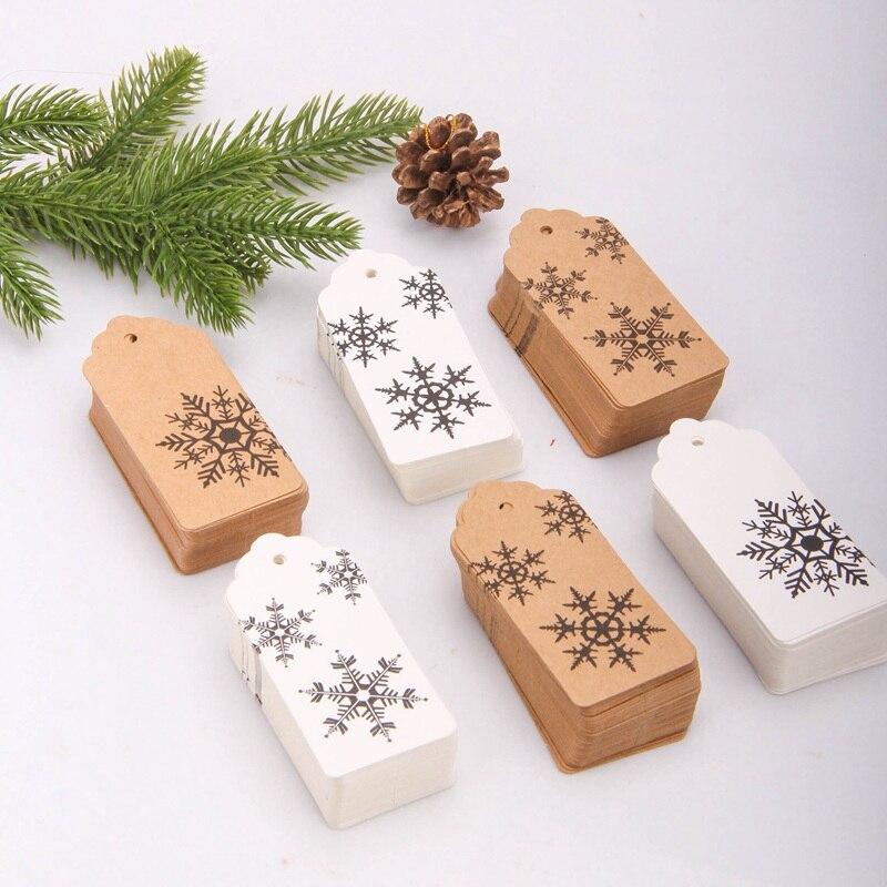 Белые снежинки крафт-бумаги, 50 шт., бирки для рождественской вечеринки, упаковочные материалы для подарков, с рождеством, DIY открытки из краф...