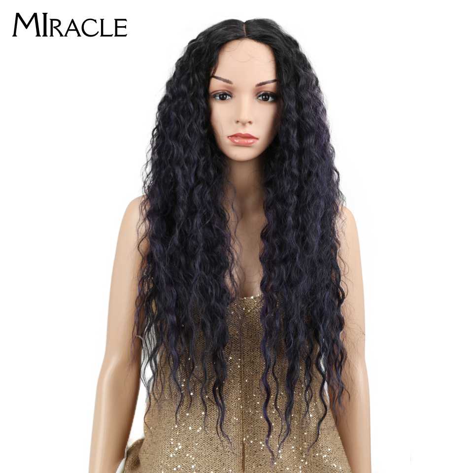 "Miracle Hair Ombre Wig Kinky Curly Deep Middle Part Lace Wigs 150 Density Long 28"" Heat Resistant Synthetic Wigs For Black Women-in Synthetic None-Lace  Wigs from Hair Extensions & Wigs"