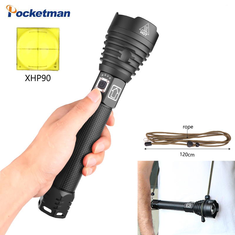 150000LM XHP90 LED long-range lanterna Camping 1.5 vezes XHP70.2 poderosas lanternas de LED tocha use 26650 bateria mochila