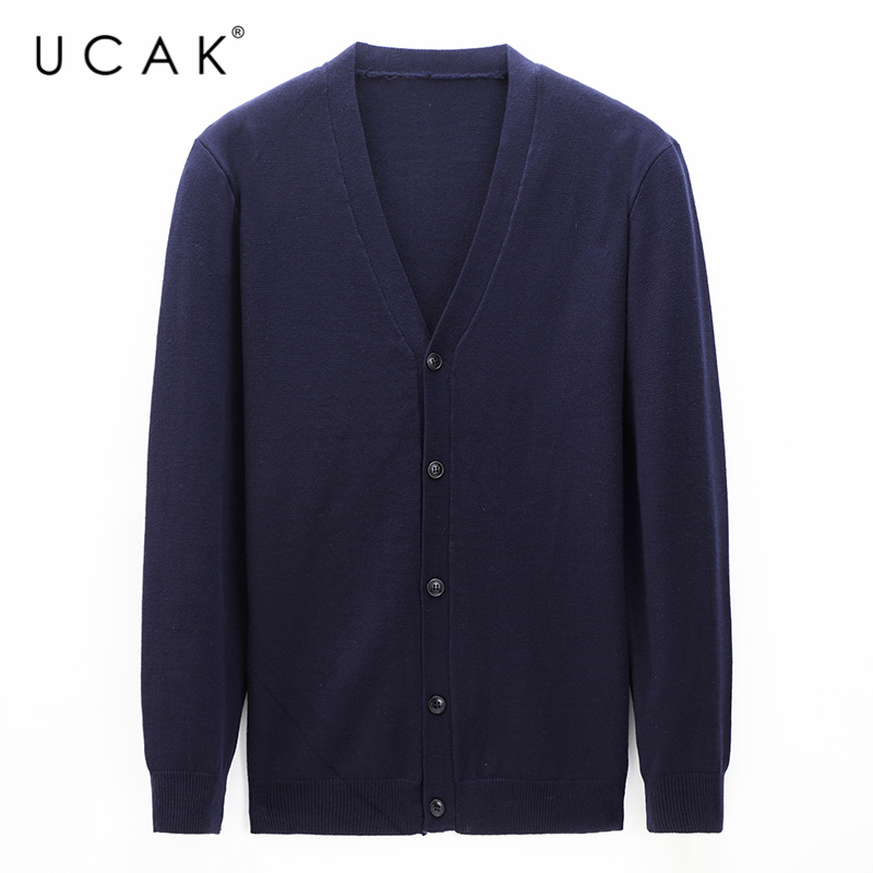 UCAK Brand Sweater Men Cotton Wool Cardigan Men Clothes Autumn Winter Cashmere Sweaters Classic Casual Cardigans Coat U1129