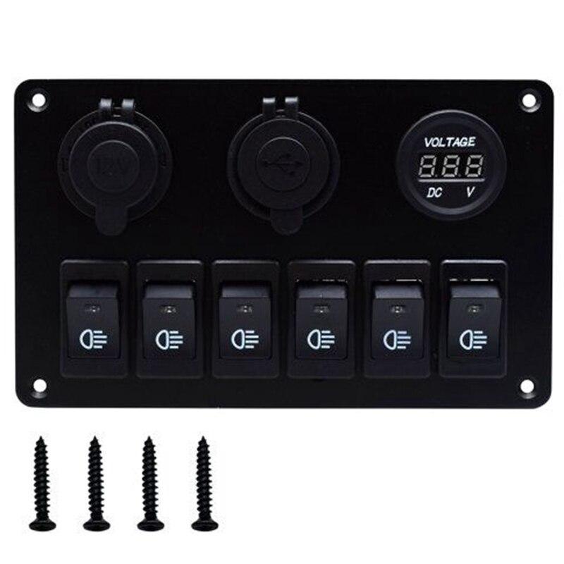 Usb зарядка ABS 12 в 24 в 6 банд кулисный переключатель панель двойной USB Водонепроницаемый Автоматический выключатель синий светодиодный перекл