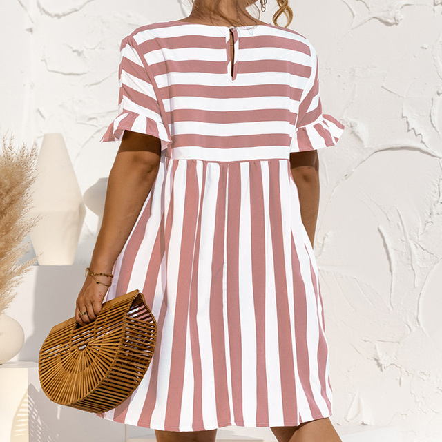 Summer Loose Women Dress Elegant Stripe Midi Dresses Female Casual Short Sleeve Ruffle Office Ladies Dress Pocket Beach Vestidos 6
