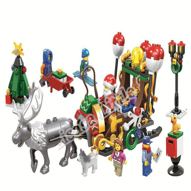 2019 New Christmas Sets Village Train Hot Air Balloon Compatible With Legoinglys Model Building Blocks Bricks Toys Gift No Box 1