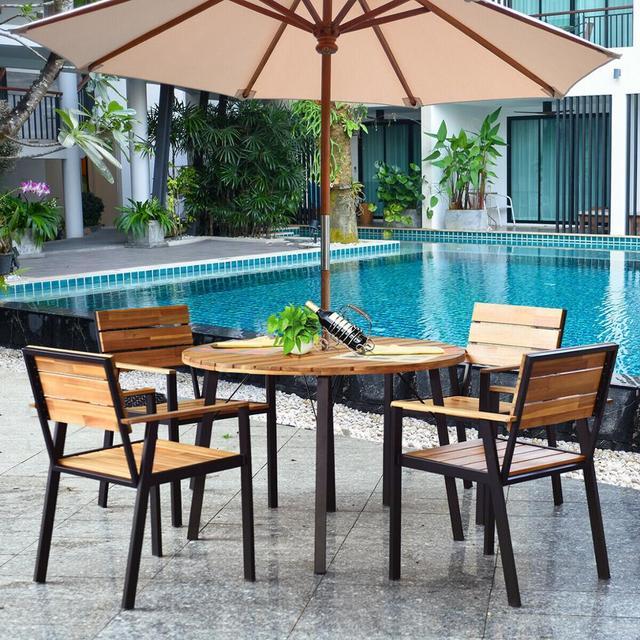 5PCS PatioRound Table w/Umbrella Hole  3