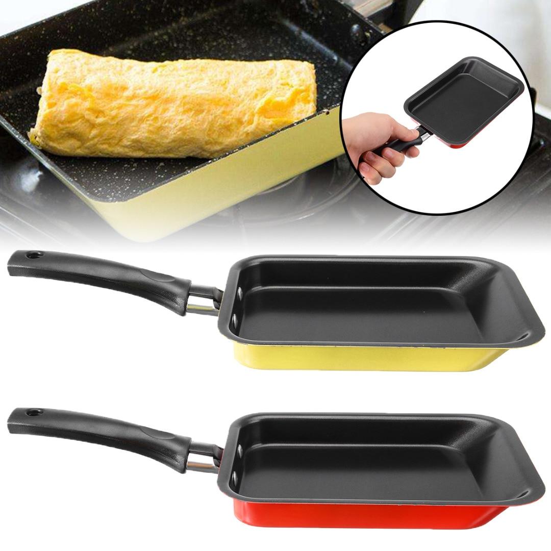 Mayitr retangular mini ovo panqueca frigideira antiaderente ovo rolo sushi omelete quadrado frigideira cozinha ferramentas 18cm 2 cores