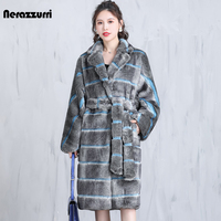Nerazzurri zima ponadgabarytowych kolorowe w paski długie ciepłe grube puszyste płaszcz ze sztucznego futra kobiet pas klapy dorywczo koreański mody 2021