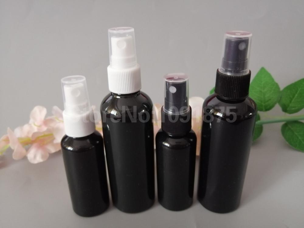 50 stücke 50ml 100 ml schwarz kunststoff Spray Flaschen Schwarz Weiß sprayer Parfüm Kosmetik Container Dunkle Farbe