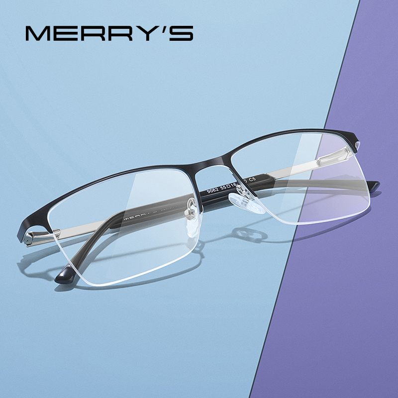 MERRYS DESIGN Men Alloy Glasses Frame Male Square Half Optical Ultralight Myopia Hyperopia Prescription Eyeglasses S2062