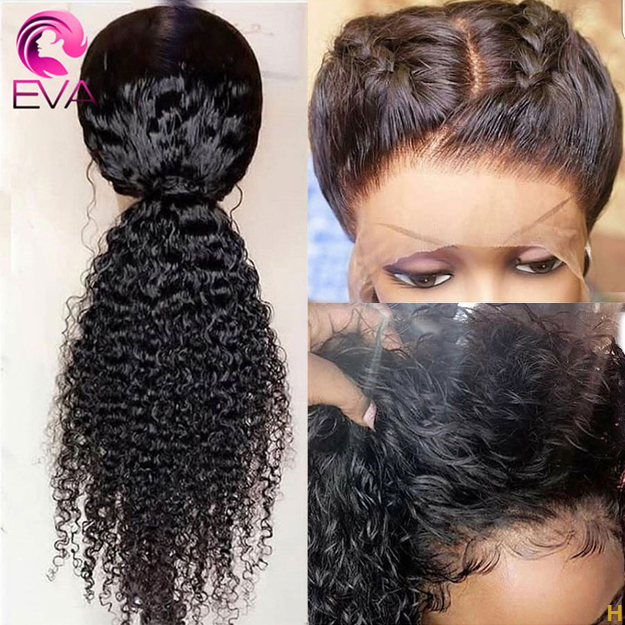 Eva Hair 180% 360 Lace Frontal Human Hair Wigs Pre Plucked With Baby Hair Curly Bleached Knots Remy Hair Wigs For Black Women