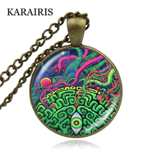 KARAIRIS New Sacred Geometry Photo Necklace Pendant Geometric Jewelry Chakra Long Sweater Chain Necklace Reiki Healing Jewelry цена 2017