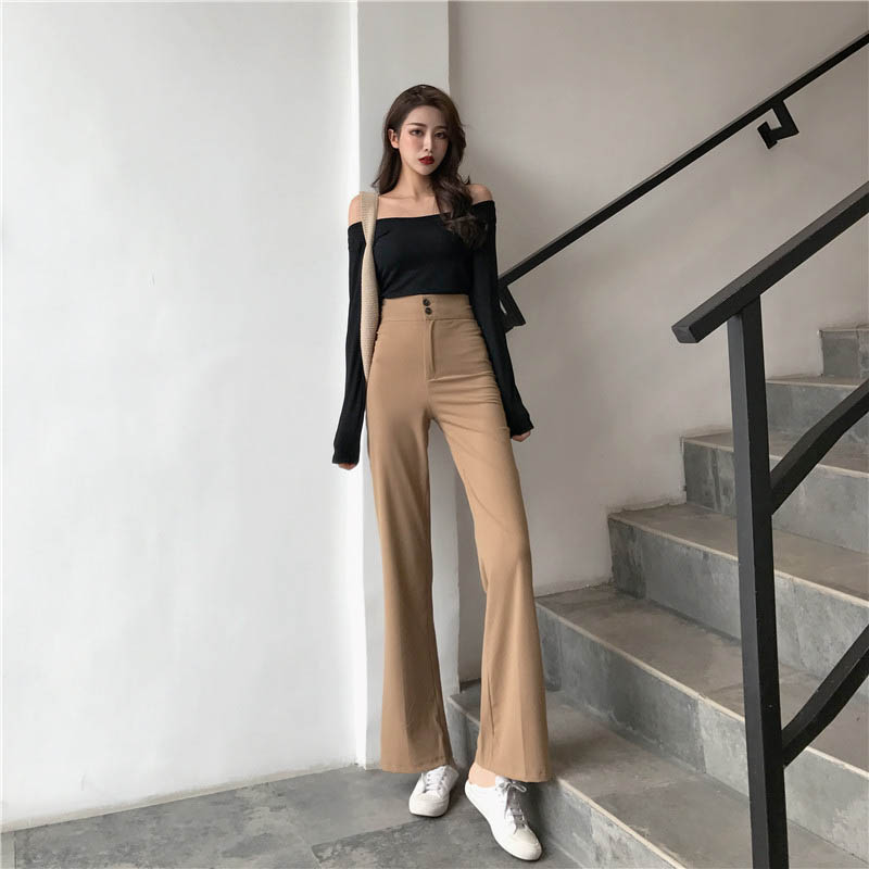 Vintage Korean Style High Waist Ladies Button Slim Pants Female Wide Leg Pant 2020 New Autumn Women Casual Solid Straight Pants