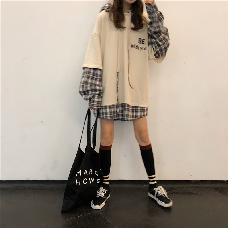 Women's Aesthetic Hoodie Coat The Cell Itself Plaid Autumn Streetwear Casual Loose Long Sleeve Pullovers Fashion Jacket Designer 4