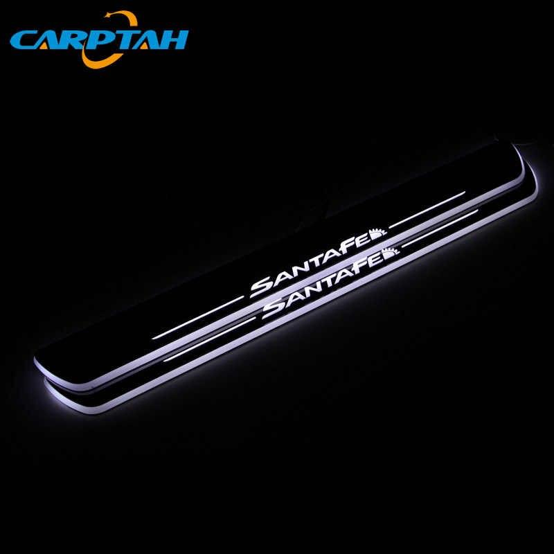 CARPTAH Trim Pedale Auto Parti Esterne LED Davanzale Del Portello Del Piatto Dello Scuff Pathway Streamer Dinamico luce Per Hyundai Santa Fe 2010 - 2018