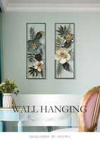 American style 3D Stereo Wrought Iron Artificial Flower Wall Morandi color Ornament Decoration Home Livingroom Mural Art