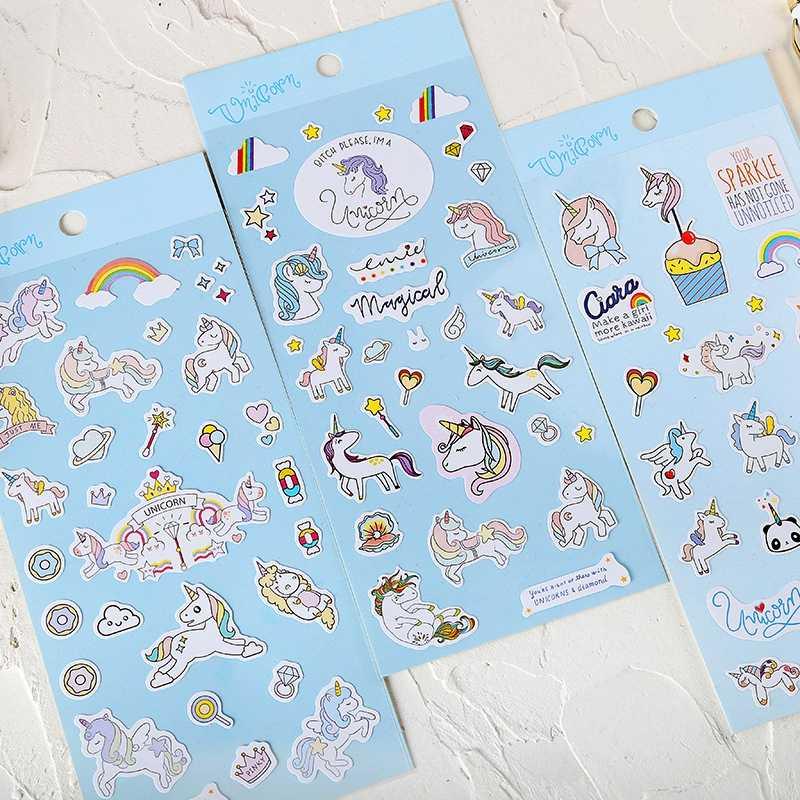 VSCO Gadis Stiker Unicorn Stiker Diy Kartun Hewan Stiker Laptop Notebook Mainan untuk Anak Tahan Air Stiker untuk Anak-anak